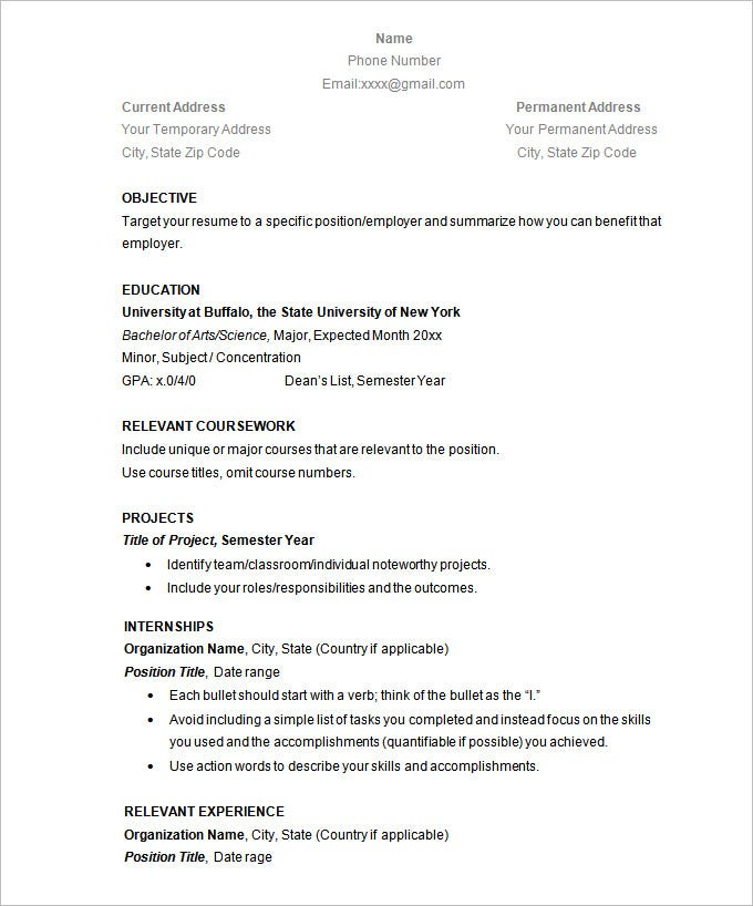 Simple Resume Template – 39+ Free Samples, Examples ...
