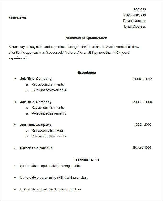 Resume Template   Free Samples Examples Format