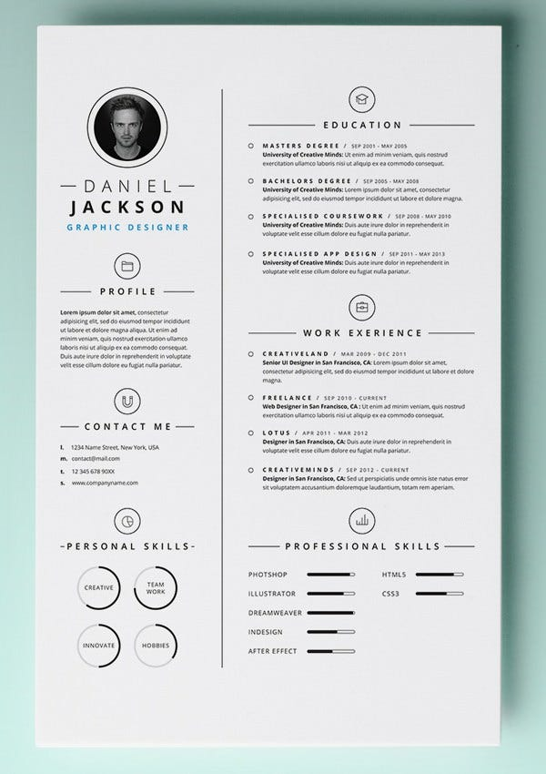 resume templates with photo free download creative for photographers professional psd simple template