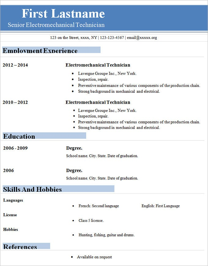 Exceptional Simple Technician Resume CV Template