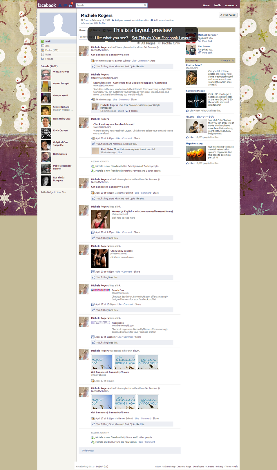 snowmen business facebook layout preview