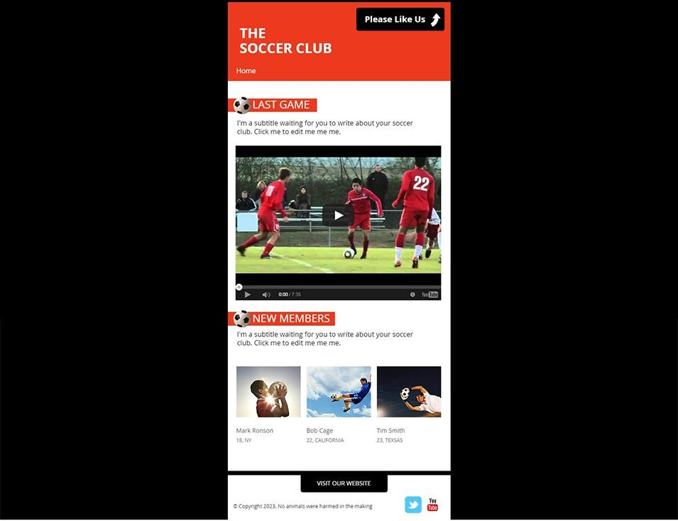 Soccer Club FB Website Template WIX
