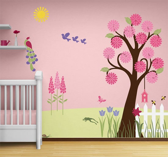 Splendid Garden Wall Mural Stencil Kit For Painting