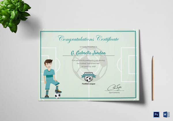 Sports Award Winning Congratulation Certificate Template  Creative Certificate Designs