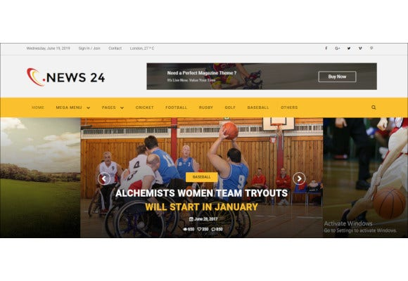 sports news html5 template