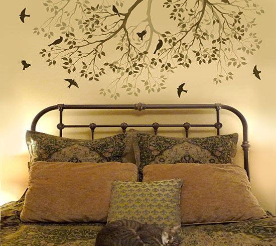 spring songbirds wall stencil