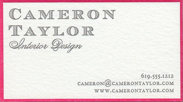 St. Charles Letterpress Bordered Pearl White Business Card