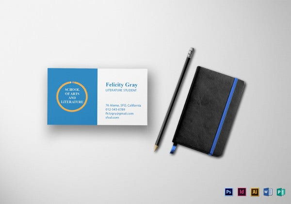Business cards for teachers 48 free psd format download free student business card template reheart Choice Image
