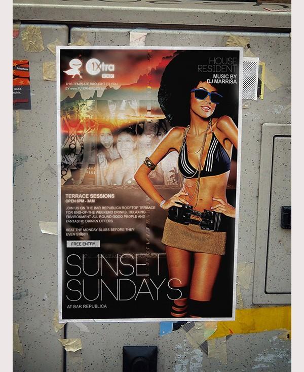 sunset sundays flyer template1
