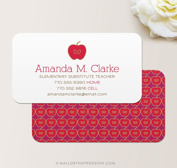 Teacher business card template free geccetackletarts teacher business card template free teachers apple business card business cards teacher and business wajeb