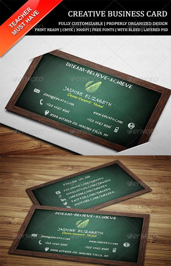 Business cards for teachers 48 free psd format download free teacher business card reheart Choice Image