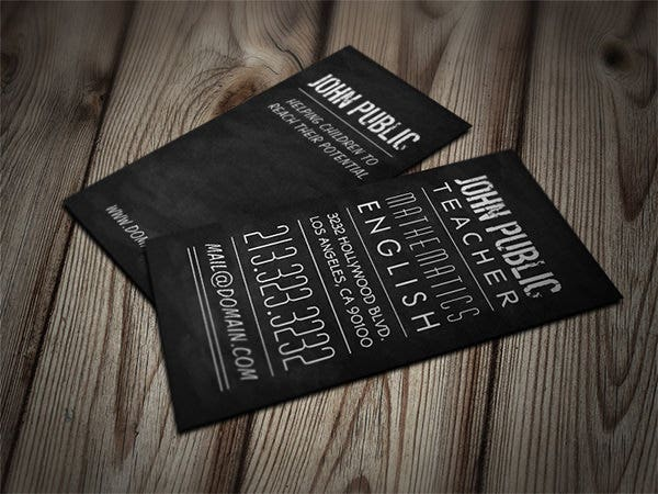 teacher and tutor chalkboard business card