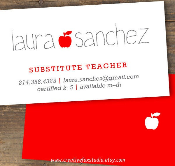 teacher or substitute business card