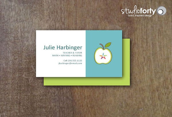 Business cards for teachers 48 free psd format download free teachers apple business cards reheart Gallery
