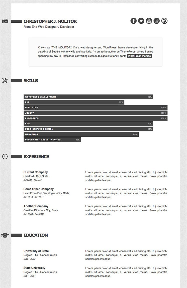 Html Resume Templates  Free Samples Examples Format Download