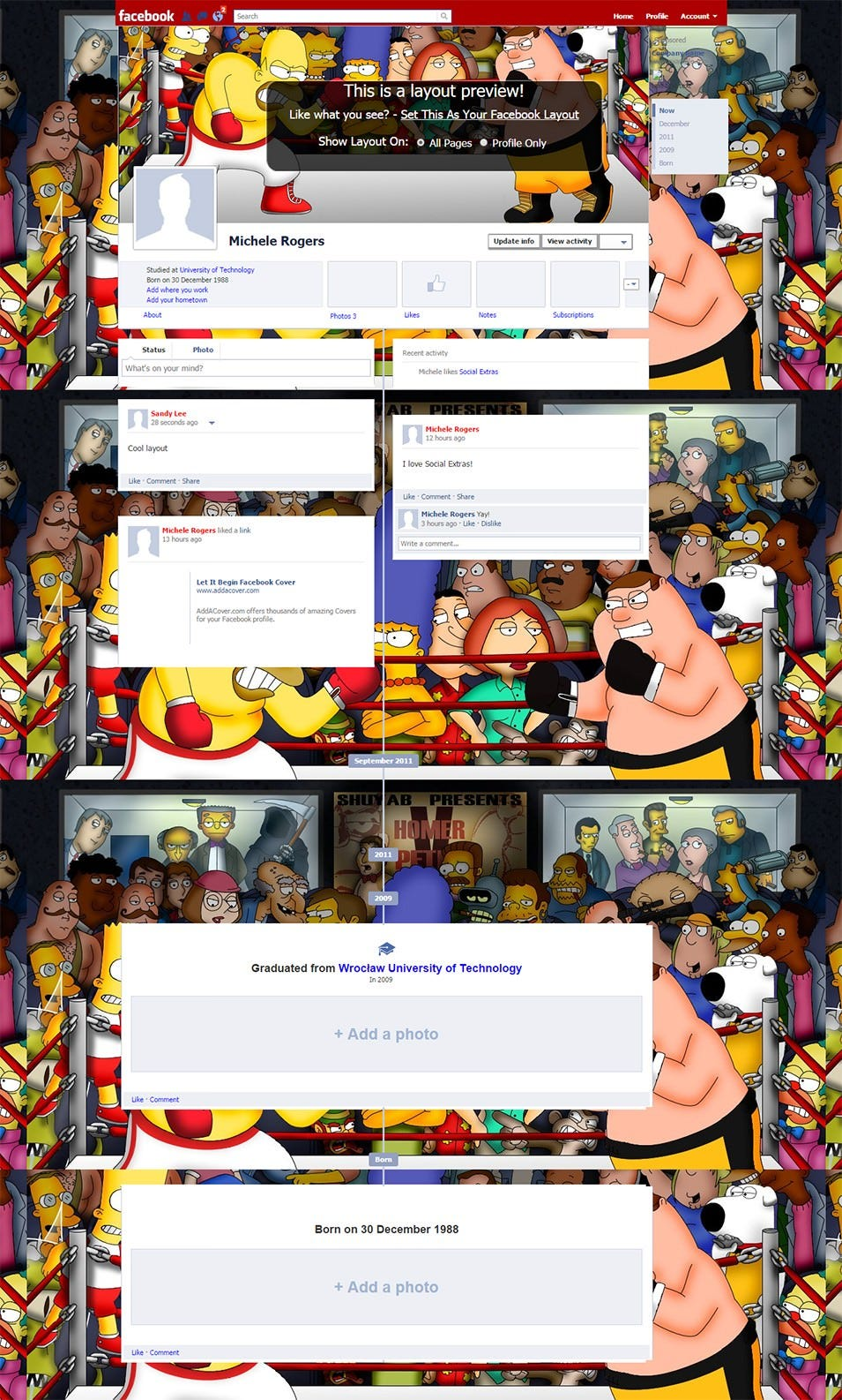 the simpsons vs family guy facebook layout preview