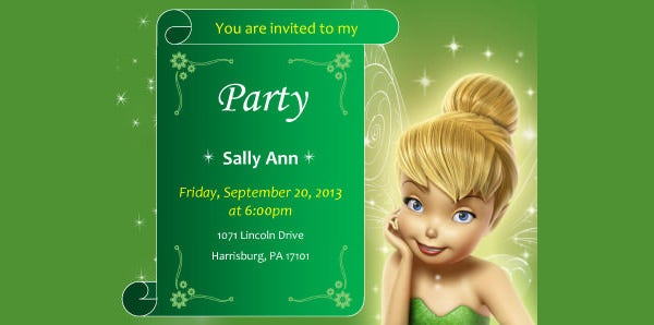 free printable tinkerbell birthday party invitations