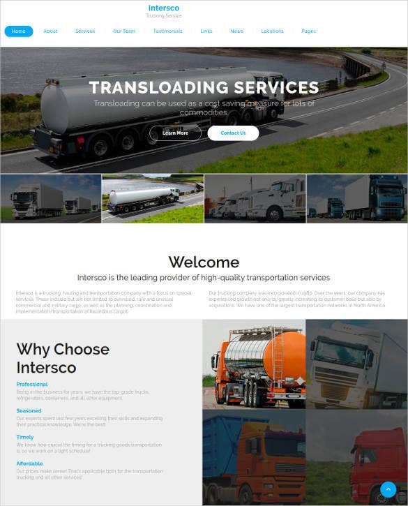 transportation jquery html5 website template