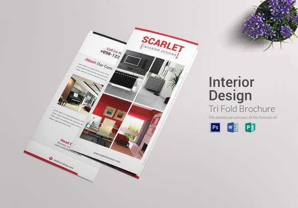 tri fold interior design brochure template
