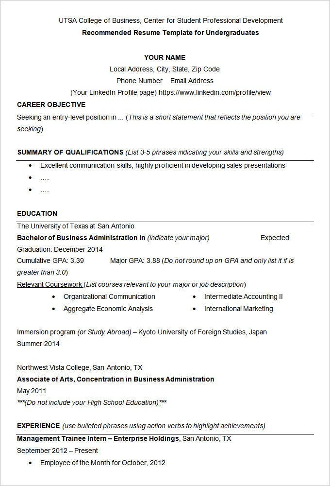 UTSA College Of Business Resume Example Template  Sample Resumes For Students