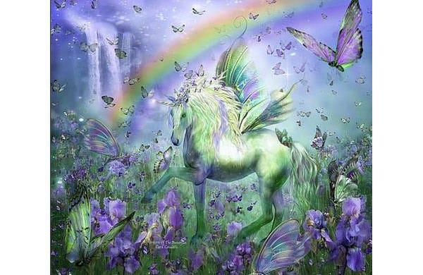 unicorn of the butterflies canvas print canvas art by carol cavalaris