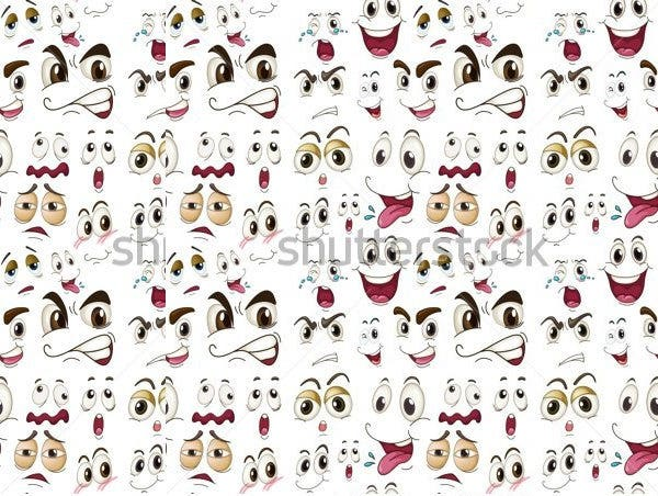 various cartoon face expressions