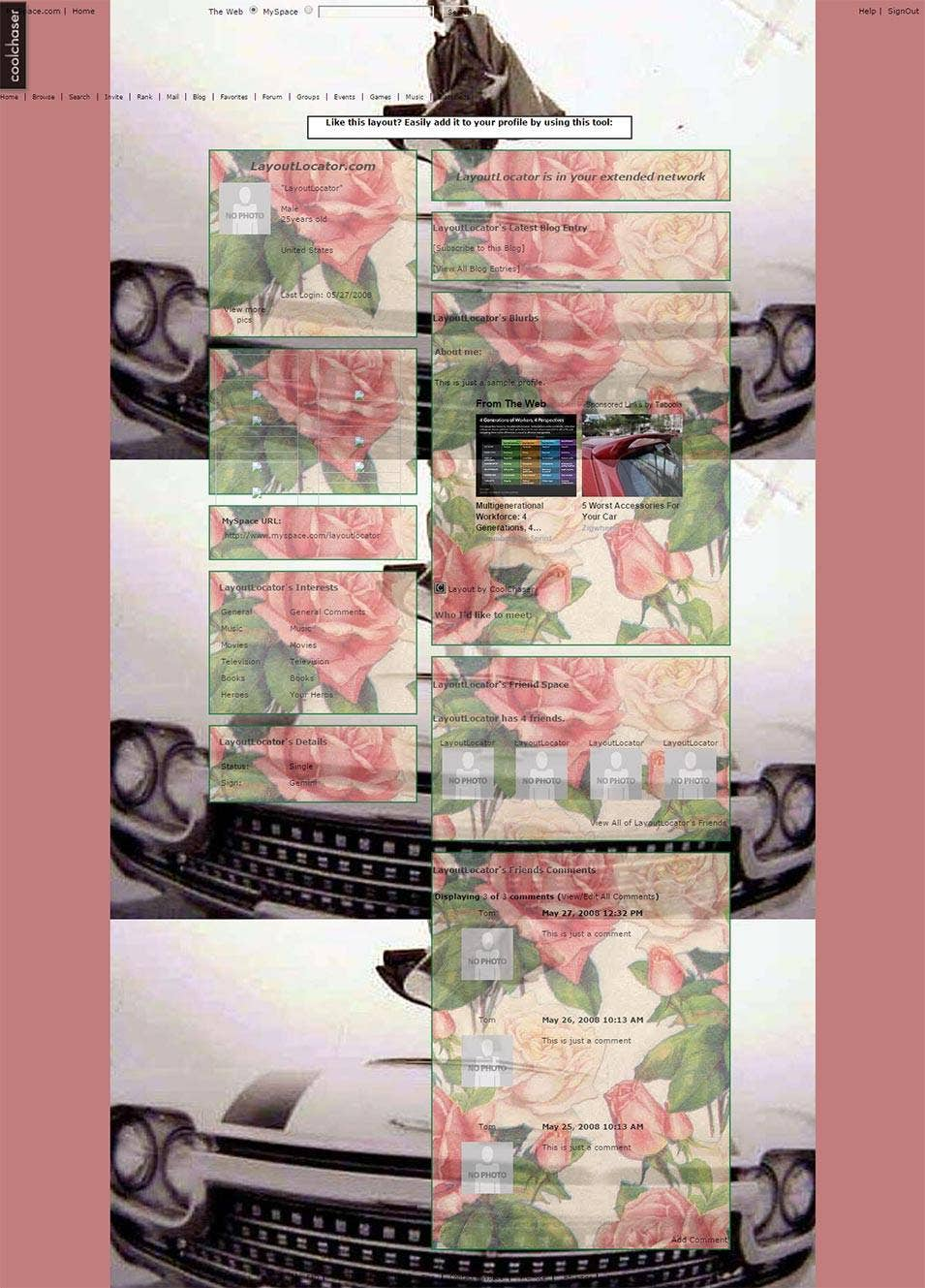 vintage fashion vintage rose myspace layout preview layoutlocator