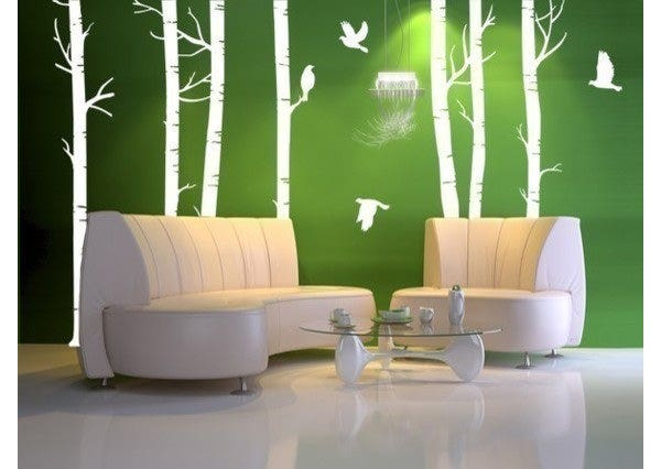 vinyl wall decal forest with birdshome decor murals by wowwall eclectic decals by etsy
