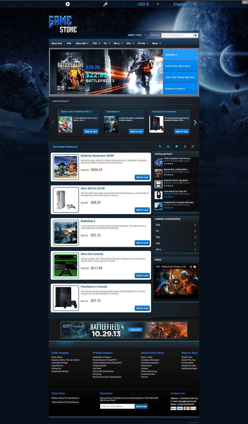 Virtuemart Game Store Template