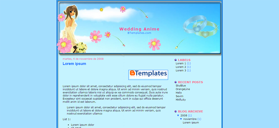 wedding anime blogger template btemplates