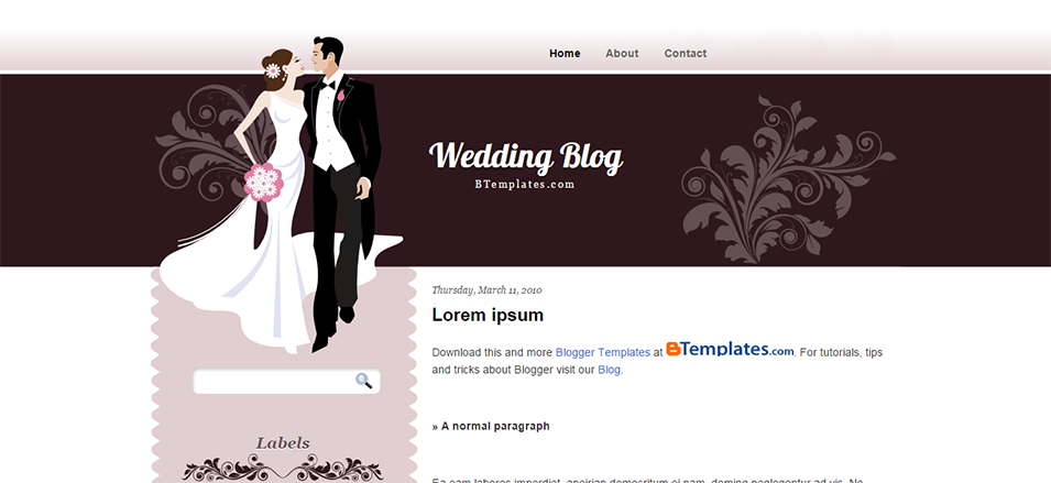 wedding blog blogger template btemplates