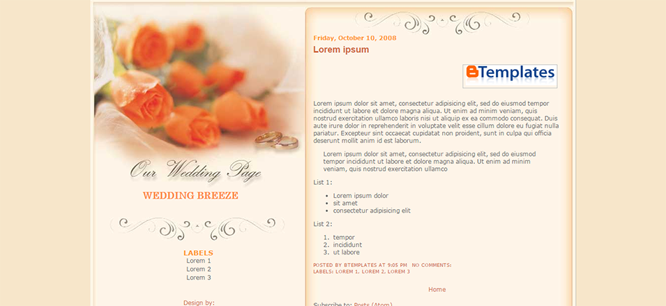 wedding breeze blogger template btemplates