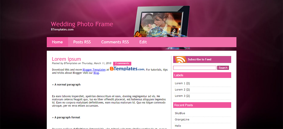 wedding photo frame blogger template btemplates