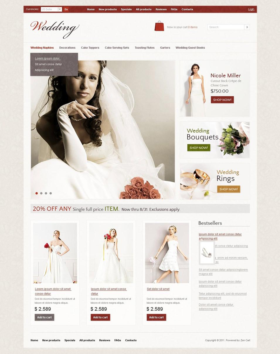 wedding shop zencart template