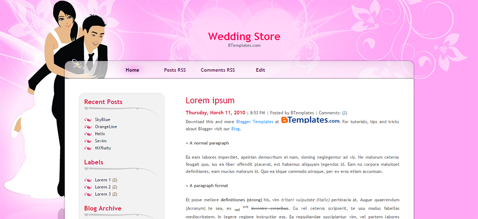 wedding store blogger template btemplates
