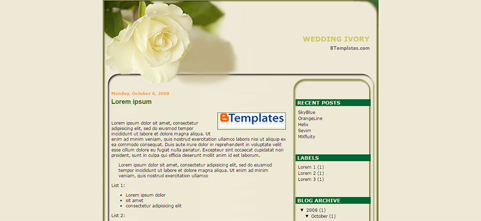 wedding ivory blogger template btemplates