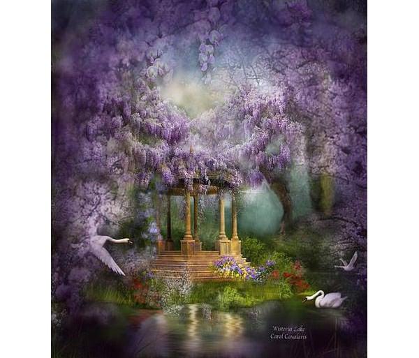 wisteria lake canvas print canvas art by carol cavalaris