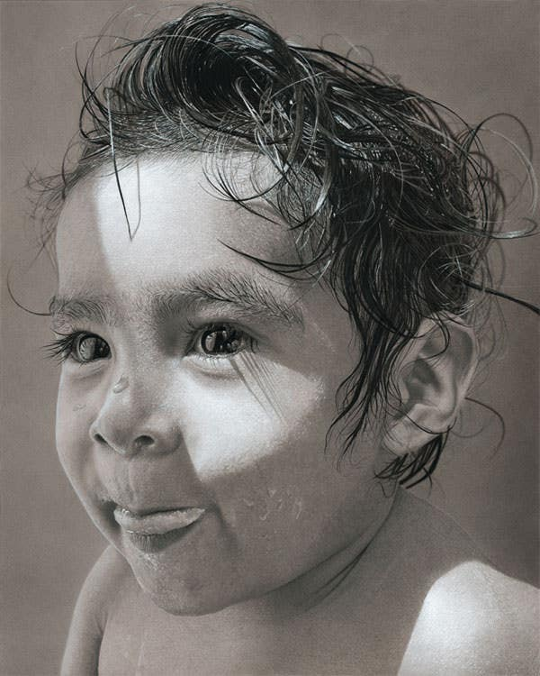 young kid realistic pencil drawing