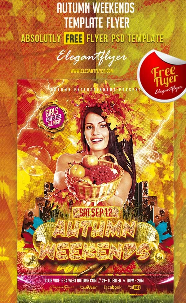 autumn weekends free club and party free flyer psd