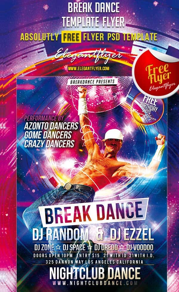 break dance free club and party flyer psd