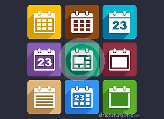 calendar flat icons set 2