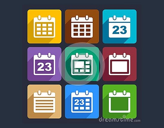 calendar flat icons set
