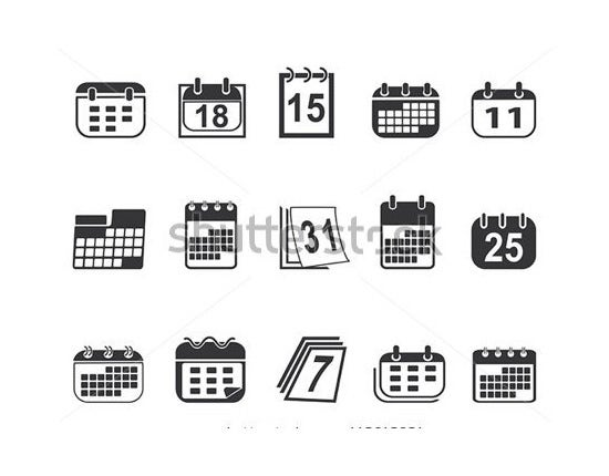 collection of calendar icons