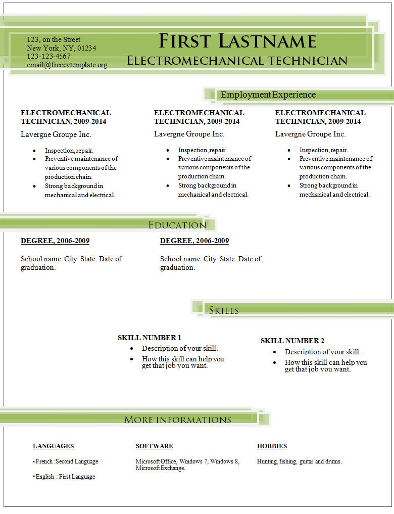 simple resume sample download - Basic Resume Examples