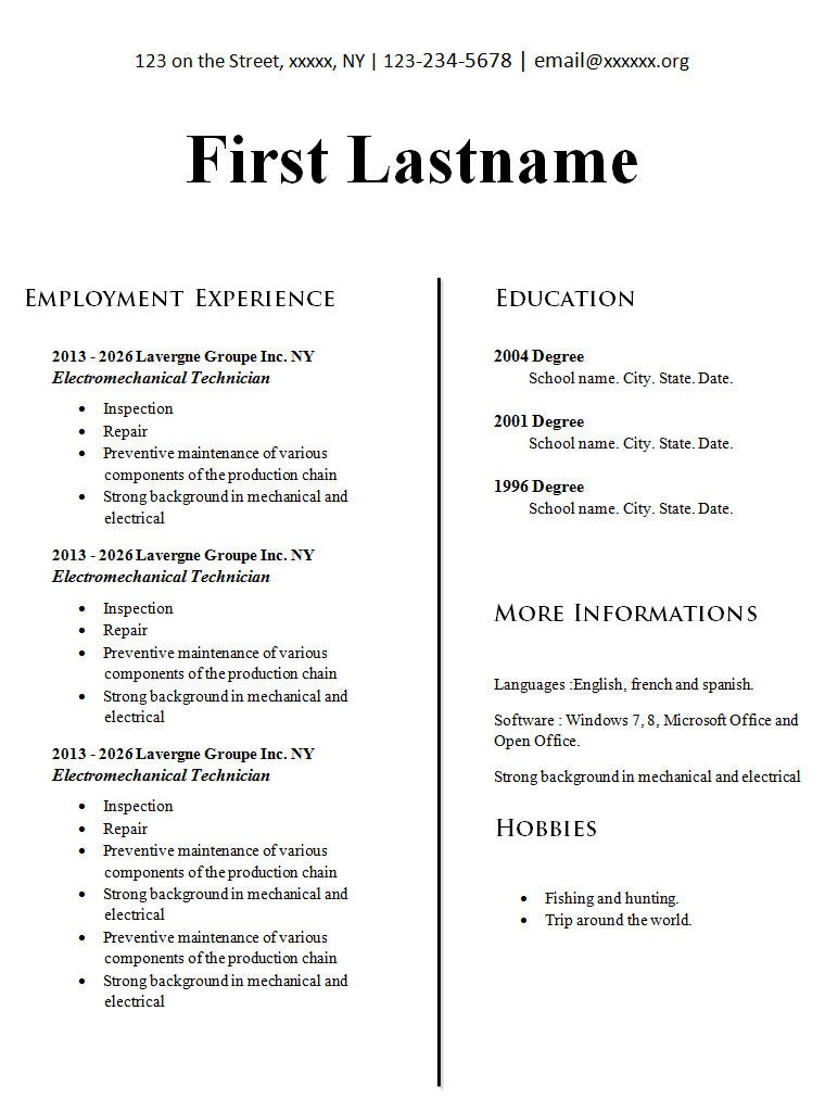 Resume Template. Download