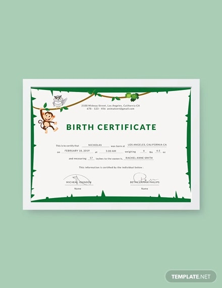 free animal birth certificate