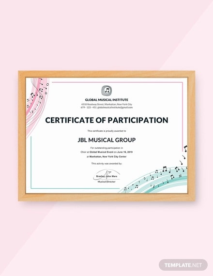free choir certificate of participation