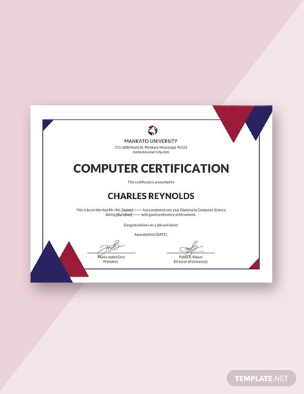 free computer diploma certificate