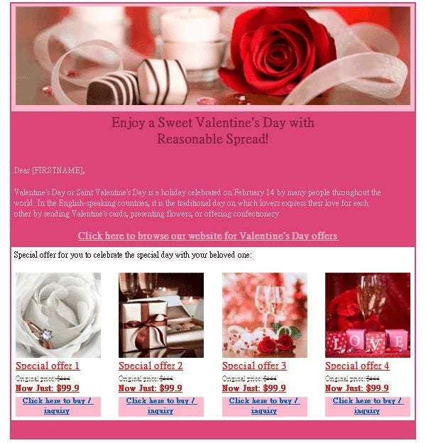 happy valentines day email template