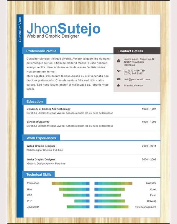 PSD Resume Template – 51+ Free Samples, Examples, Format ...